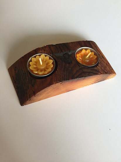 Handmade Reclaimed Wood Candle Holder (Small)