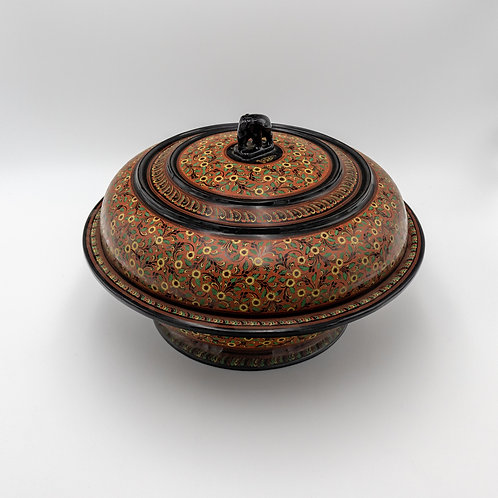 """15"""" Rice Bowl With Cover Elephant"""