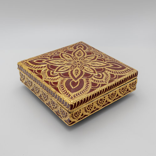 "8"" x 8"" Golden Embossing lacquer Box"