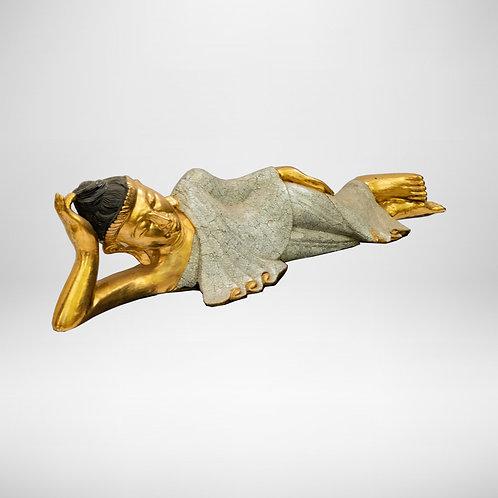 3' Buddha (Wood Curving & Egg Shell, Gold)