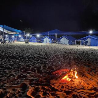 fishing camp at night