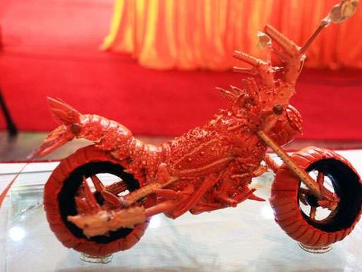 Il pêche un homard en forme de moto!