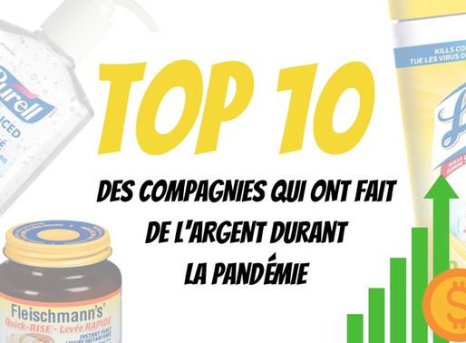 TOP 10 des compagnies qui ont fait de l'argent durant la pandémie