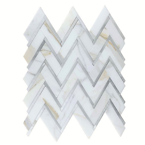 Chevron Calacatta Gold with Silver Line