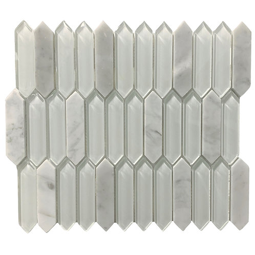 "Carrara 1"" x 4"" Elongated Hex with White Elongated Clear Glass Polished"