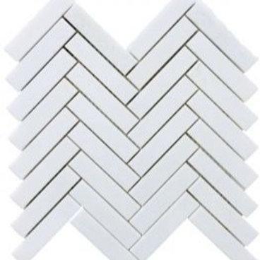 "Thassos 1"" x 4"" Herringbone Polished"