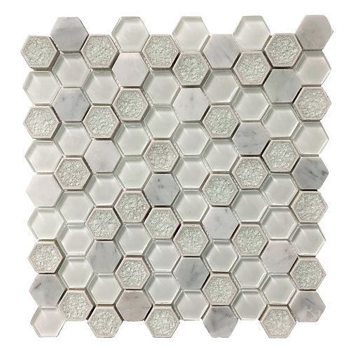 "Carrara 1"" Hex with Crackled and Clear Glass Polished"