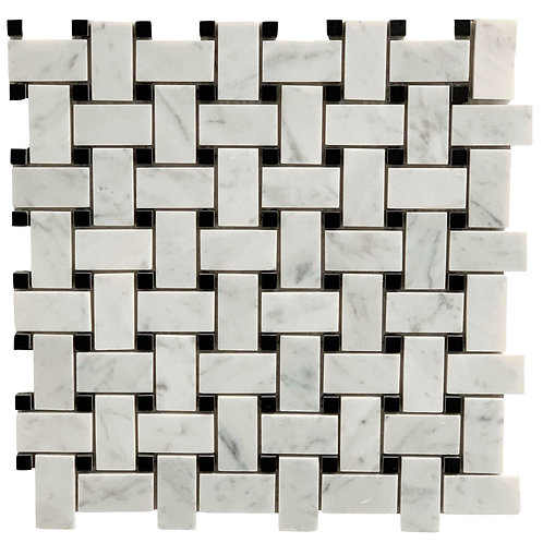 Carrara Basketweave with Black Dot Polished RT6003
