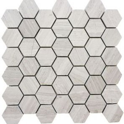 "Wooden White 2"" Hex Honed"