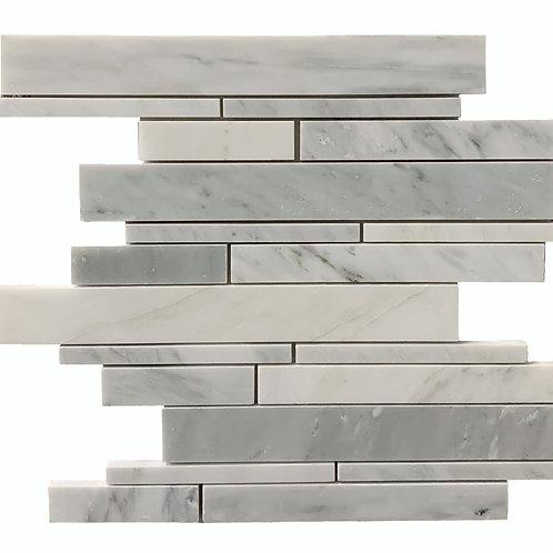 Oriental White with Oriental Grey Linear/Random Sizes Polished