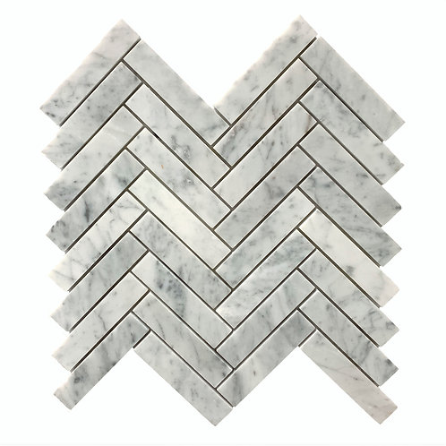 "Carrara 1"" x 4"" Herringbone Polished"