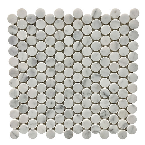 "Carrara 1"" Penny Round Polished"