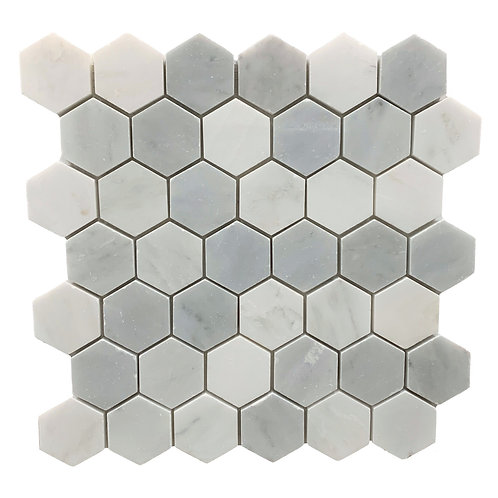 "Oriental White with Oriental Grey 2"" Hex Polished"