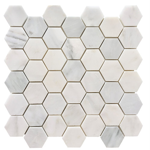 "Oriental White 2"" Hex Polished"