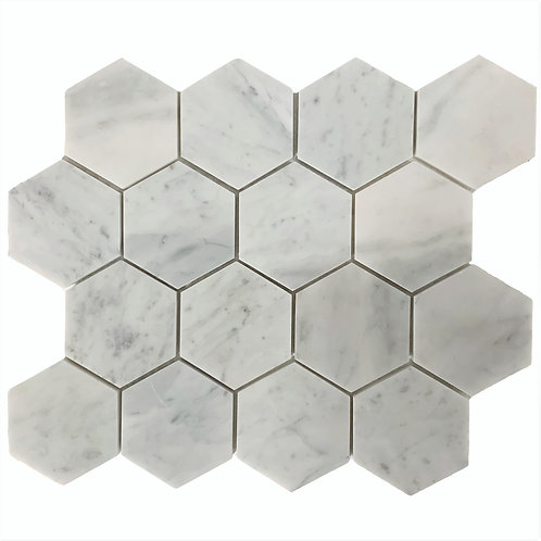 "Carrara 3"" Hex Polished"