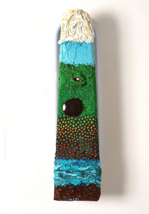 Landscape, 2008, oil on readymade, 43x12x5