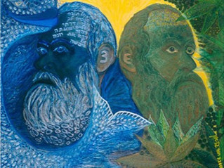 The Prophet Jonah [The Green and Blue Men], 2004, oil on canvas, 140x100 cm