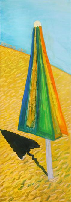 Homage David Hockney, 2015, oil on canvas 60x180