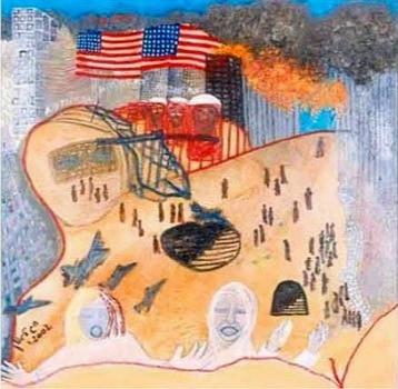 9-11, 2002, oil on canvas, 100x100