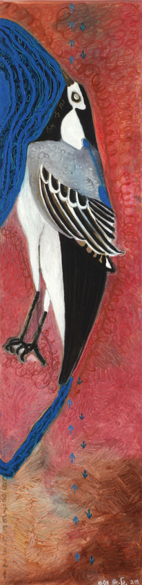 Israel Birds (wagtail), 2009, oil on canvas, 180x50