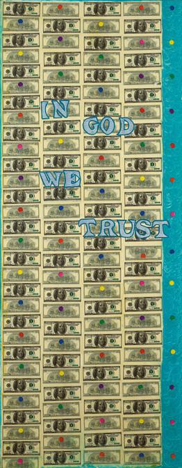 """In GOD We Trust"", III (Tryptych), 2017, mixed media, 70x180"
