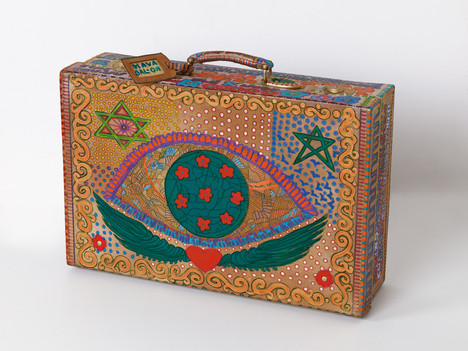 Psalms 90 (side A), 2020, oil on suitcase