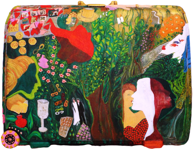 My Life Story (side A), 2010, oil on suitcase, 58x75x23