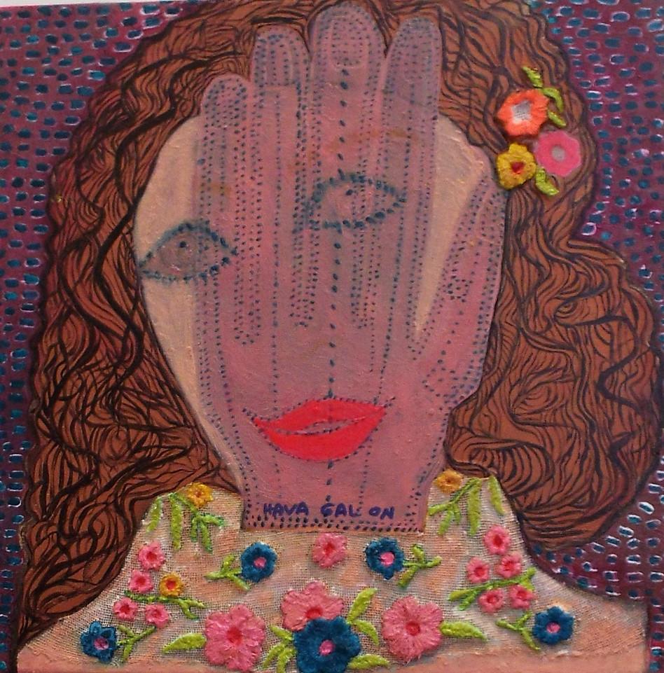 Glove Lady, 2020, mixed media, 70x70