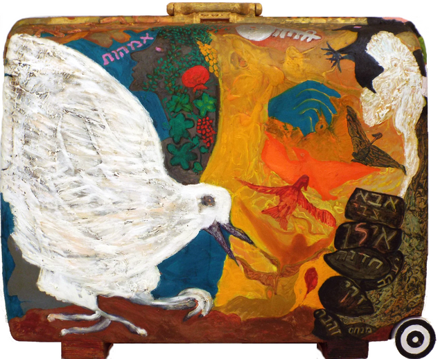 My Life Story (side B), 2010, oil on suitcase, 58x75x23