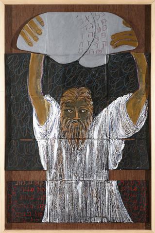 Moses, 2009, mixed media on cardboard box, 81x54 cm