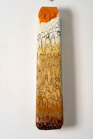 People, 2008, oil on readymade, 43x12x5