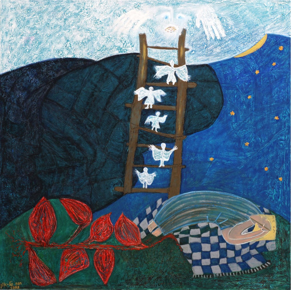 Jacob's Ladder, 2002, oil on canvas 100x100