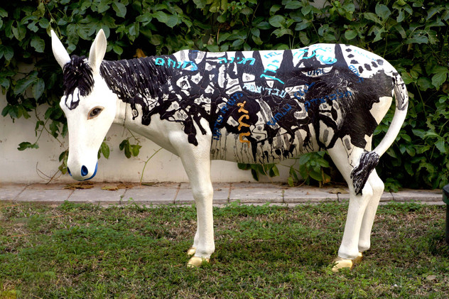 Waiting for the Messiah, 2008 oil on fiberglass donkey, 120x150x60