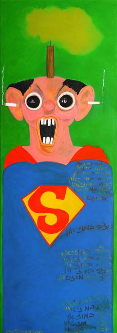 Homage George Condo, 2015, oil on canvas 60x180