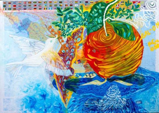 Shana Tova, 1998, oil on map, 100x70