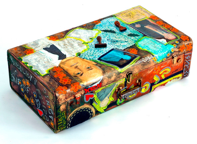Father, 2002, oil and collage on suitcase, 46x75x22