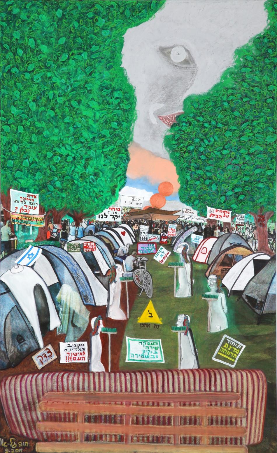 Rotschild Protest, 2011 oil on canvas, 120ס180