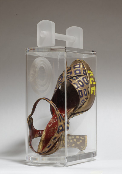 Striding in Purses (1), 2010, mixed media inside a perspex purse