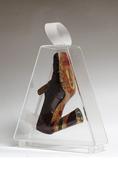 Striding in Purses (24), 2010, mixed media inside a perspex purse