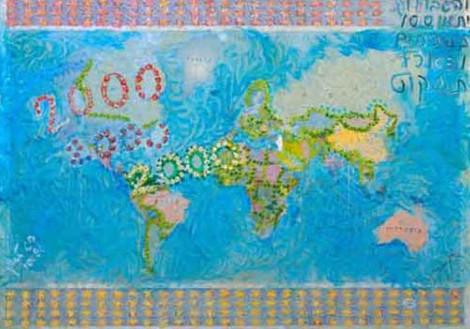 Optimism, 2000, oil on map, 70x100