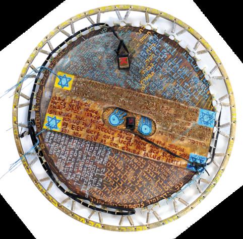 Tashmishim, (2002) , mixed media on trampoline, 120 diameter