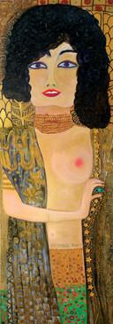 Homage Gustav Klimt, 2016, oil on canvas 60x180