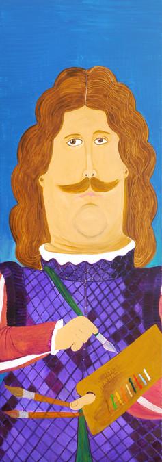 Homage Fernando Botero, 2016, oil on canvas 70x180