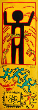 Homage Keith Haring, 2015, oil on canvas 60x180