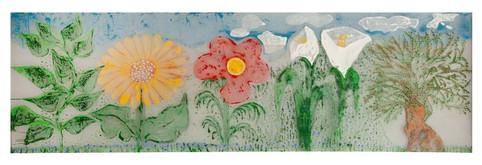 Flowers [1], color print on net, 80x250