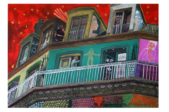 Neighbourhood, 2010, oil on photograph, 120x180