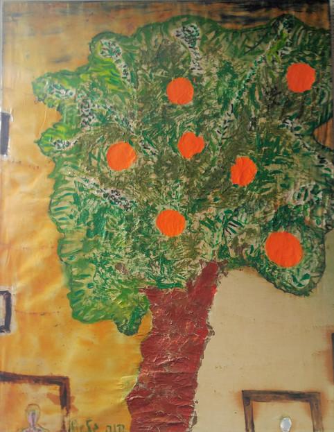Jaffa Oranges, oil paint on cloth, 120x180