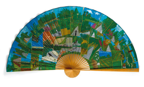 In The Mood for Nature (2), 2020, mixed technique on readymade fan, 121x217x7