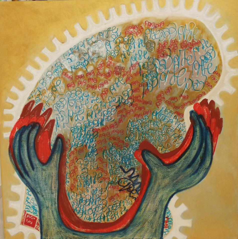 Stamp for Peace 2002, oil on canvas, 100x100