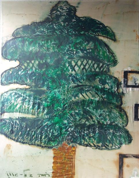 Cedar of Lebanon, oil paint on cloth, 120x180